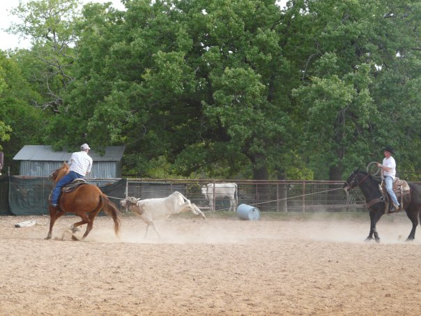 Jim Jr. and Tres roping